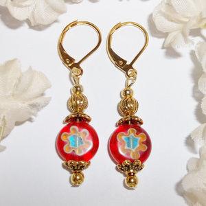 Earrings Orange and Gold Flower NWT Handmade 4609